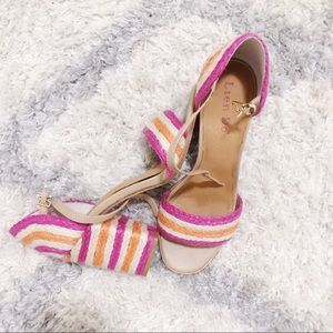 Lien.Do Gliding Stripe Raffia Block Heels 🌷